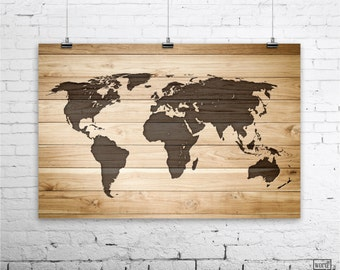 rustic wood large world map poster wood wall art print gifts for him