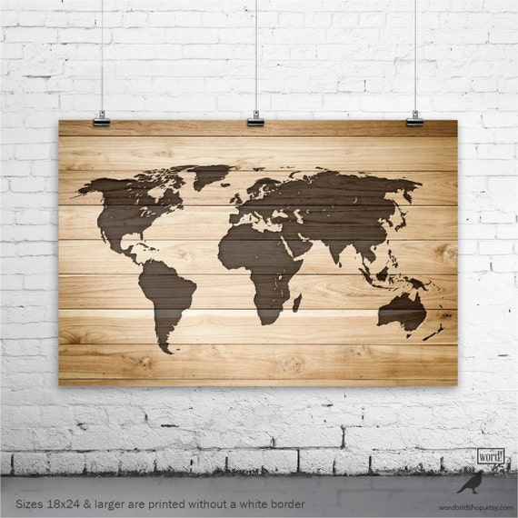 Rustic wood large world map poster wood wall art print gifts gumiabroncs Choice Image