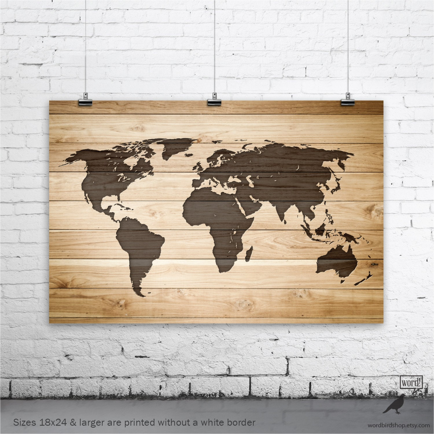 Rustic Wood World Map Poster Wood Wall Art Print Gifts