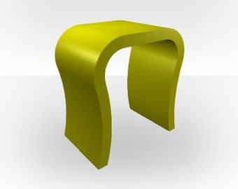 Green Gloss Bedside Table - Curved