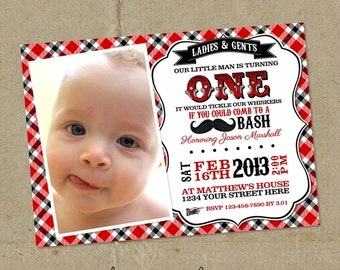 Red & Black Little Man Birthday Party Invitations - DIY U Print