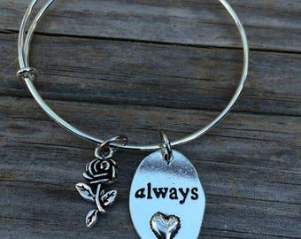 Rose Love  Always bracelet, Rose Bracelet, Bridesmaid Bracelet, Mother of the Bride Bracelet, Mother of the Groom bracelet, Wedding bracelet