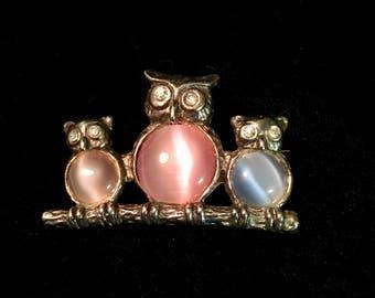 Three Owl gemstone brooch
