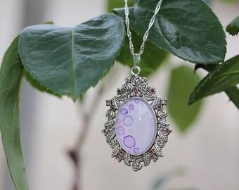 Purple watercolor bubbles pendant and rhinestones