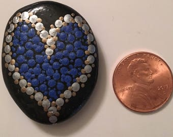 Hand painted rock - Blue Heart