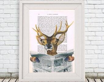 Deer read newspaper, moose art, deer wall art, deer head print, deer antler, moose print, writer, deer art print, deer head, Coco de Paris