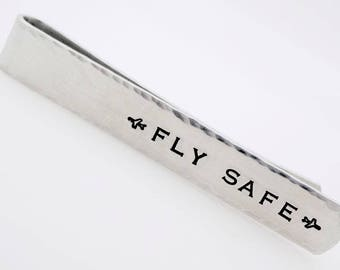 Pilot Tie Bar, Co-Pilot, Flight attendant, Apparel accessory, handstamped gift for him, gift for men, customizable, suit accessory, airplane