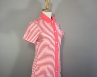 Vintage Chemise Lacoste Pantsuit, I Zod Pink  Pantsuit, 70s Striped Pantsuit