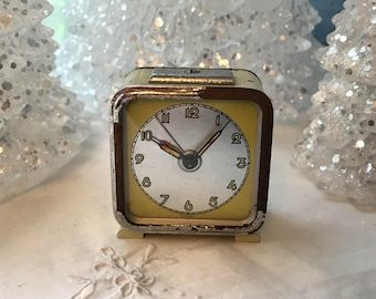 """Square Small """"Foreign"""" Green Travel Mechanical Wind Up Alarm Clock, Works Great, c. 1930-40's"""