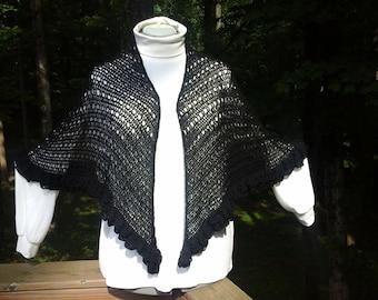 Handmade crocheted black ruffled shawl
