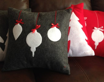 Charcoal Gray Christmas Ornaments Holiday Pillow Cover