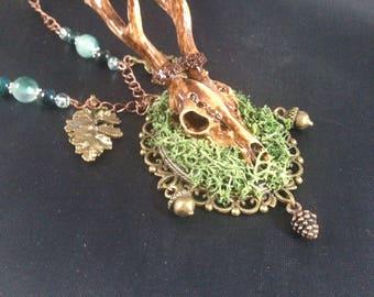 Handpainted resin deer skull necklace