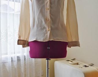 vintage silk soft yellow cream blouse