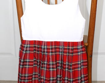 Vintage Red PLAID Pleated SCOTTISH Skirt . Little Girl's Glen Appin of SCOTLAND Polyester Skirt with Bodice . Size 3
