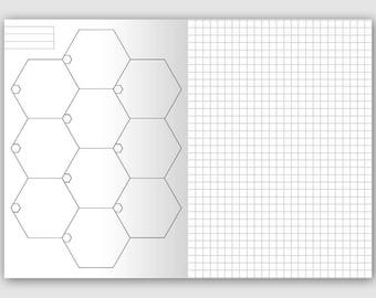 A6 HEXAGON Traveler's Notebook Printable Insert - GRID