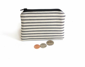 Change pouch coin purse, black cream ticking fabric, plain simple minimalist  zipper pouch, credit card holder, gift under 10