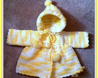 Crocheted Hooded Baby Girl Sweater ~ Yellow Variegated ~ baby ~ winter ~ fall