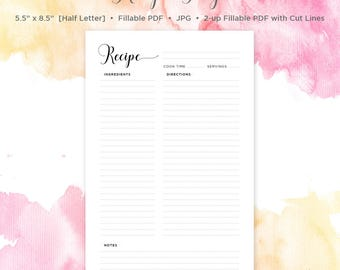 "Half Letter Size Recipe Page | Recipe Page | 5.5"" x 8.5"" 