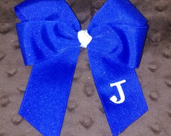 6 inch single ribbon double wing Initial bow