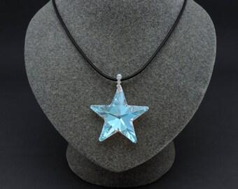 Swarovski® Crystal Star Necklace, Crystal Star Pendant, Aurora Borealis, 40MM Star with Swarovski® Crystal Bail, Star Pendant