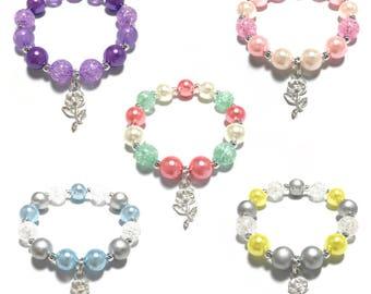 Toddler or Girls Small Beaded Silver Rose Charm Bracelet - Blue and Silver Flower Bracelet - Spring Floral Charm Bracelet - Coral and Mint
