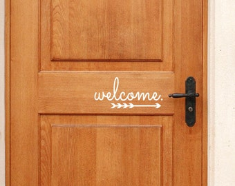Welcome Vinyl Door Decal with Arrow - Front Door Decals, Welcome Home Office Decor, Custom Vinyl Decals, Welcome by The Vinyl Company, 11x5