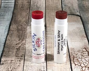 Vegan Tinted Lip Balm, Shimmer and Shine Vegan Lip Balm, Vegan Chapstick, Lip Gloss, Tinted Chapstick, Vegan Tinted Lip Balm