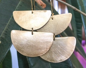 Handmade, geometric, lightweight, brass earrings
