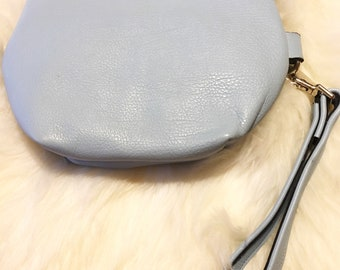 100% Leather Blue Large Wristlet Handmade