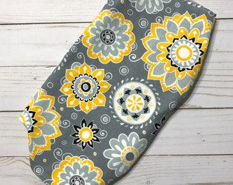Clearance! LÍLLÉbaby Accessories Reversible Headrest Bib Cover Yellow, Gray and White Floral / Chevron
