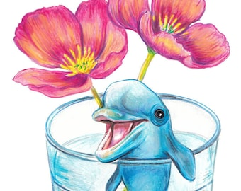 Dolphin in a Cup with Flowers - Icelandic Poppy, Pop Art Illustration PRINT, Still Life Crayon Drawing, Popsurrealism