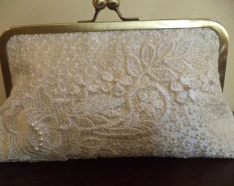 Bridal bag, wedding bag, bridal clutch, beaded bridal clutch bag  in cream lace