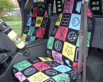 1 Set of Nintendo Super Mario Super Mario Patches Print,, Seat Covers and Steering Wheel Cover Custom Made.
