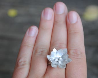 Stunning waterlily ring in recycled sterling silver