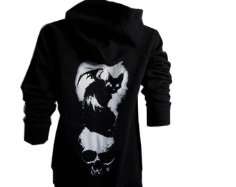bat cat hoodie, cat hoody, Mina hoodie, Nat Jones, ladies hoody, cat shirt, zip up hoodie, black hood, occult, bats, cats, cat, bat, zipper