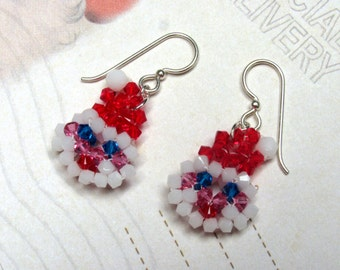 Crystal Santa Claus Earrings, Swarovski Earrings, Santa Earrings, Christmas Earrings, Holiday Earrings, Santa Jewelry, Christmas Jewelry