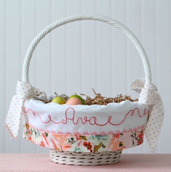 Easter basket liner personalized newborn baby girl negle Images