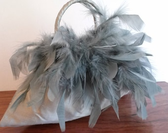 Sage Green ceremonial feathers and silk hand bag.