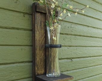 Rustic Vase Sconce. Wood Wall Sconce. Wall Sconce Vase. Unique Wall Sconce. Wall Flower Vase. Sconces. Rustic Wall Sconce. Vase Sconce. Vase