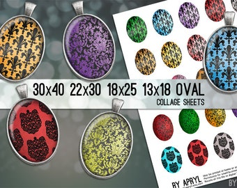 Digital Collage Sheet 30x40 22x30 18x25 13x18 Oval Damask Images for Glass and Resin Pendants Cameos Paper Craft