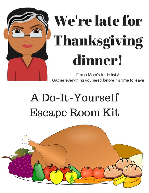 Were late for thanksgiving a diy escape room kit a diy escape room kit thanksgiving game family friendly ages 8 to 80 group game party game solutioingenieria Choice Image
