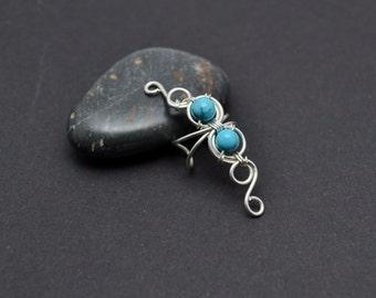 Boho ear cuff Turquoise earring Cartilage ear cuff Ear cuff no piercing Silver ear cuff Minimalist earrings Ear climber Ear wrap Ear jacket