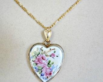 Enamel Flower Heart Locket, Romantic Gift for Her, Vintage Enamel Gold Filled Locket