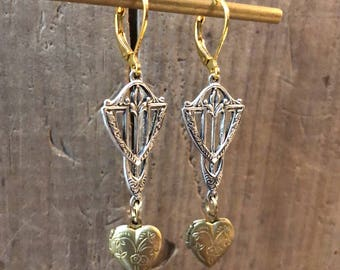 Art Nouveau Drop & Heart Locket Earrings