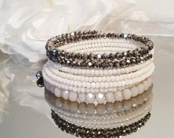 Sale!! Bangle bracelet, wrap bracelet, multi strand bracelet, memory wire, bridesmaids gifts, crystal bracelet