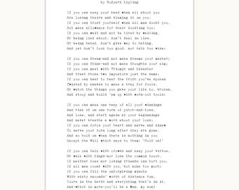 Poem for Teenage Boy, Art Print, If poem, Rudyard Kipling, graduation gift for him