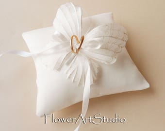 Wedding Ring Pillow Ivory Butterfly Ring Pillow Wedding Ring Bearer Pillow Satin Ring Pillow with Butterfly
