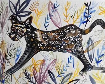 Animal Painting Animal Art Jungle Art Home Decor Animal - Original Watercolor Fine Art Céline Marcoz Original Painting - Art Home Decor
