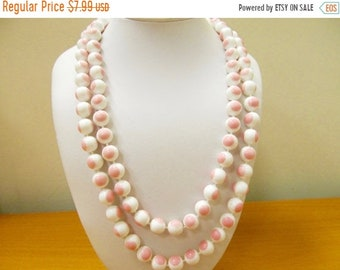 On Sale Vintage Long Pink and White Plastic Beaded Necklace Item K # 2437
