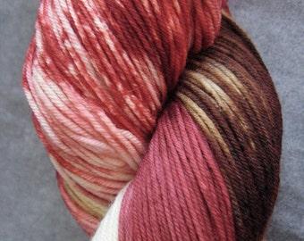 "Hand Dyed Sock Yarn - SW Merino/Nylon - 463 yards - ""Apple Cinnamon"""